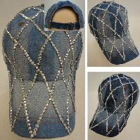 Denim Strapback Hat with Bling Bling [Diamond Pattern]